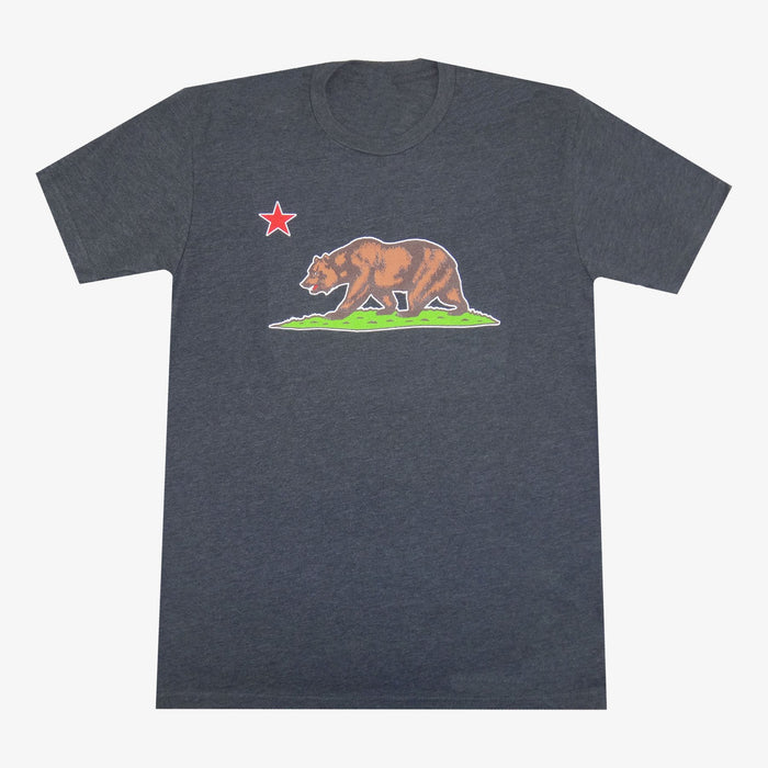 Aksels California Flag Grizzly Bear T-Shirt - Charcoal