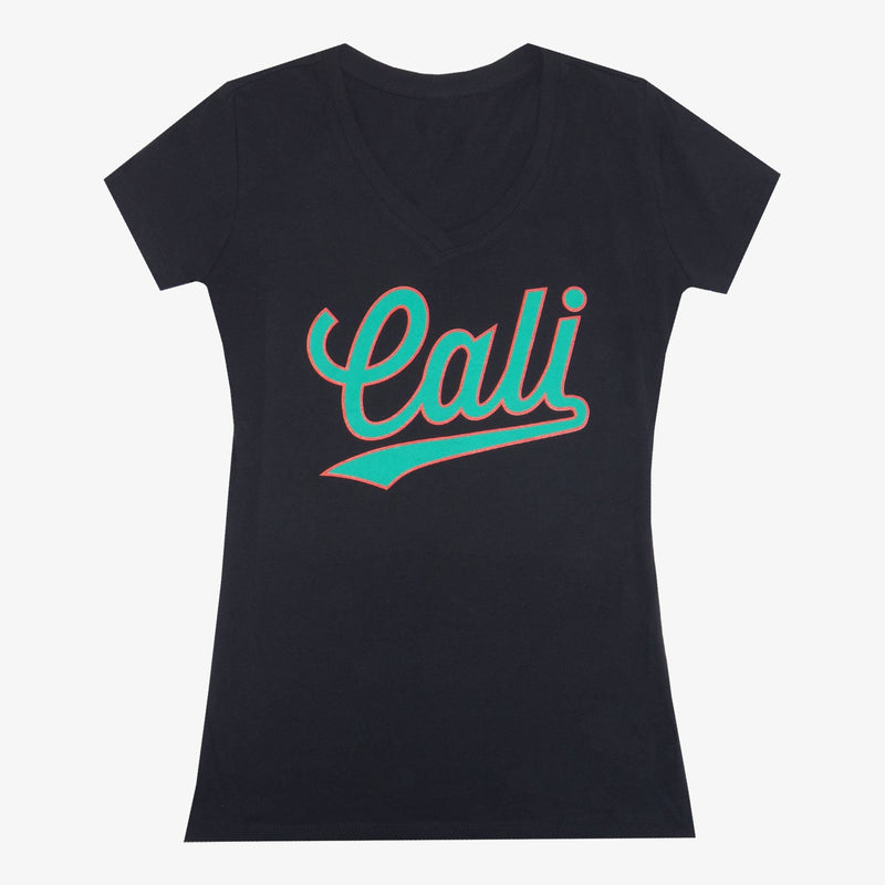 Women's V-Neck Cursive Cali T-Shirt - Grey