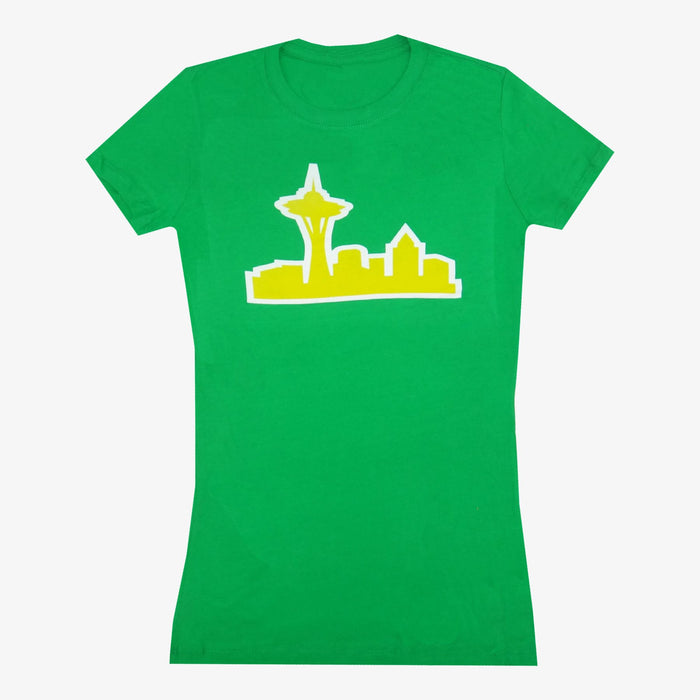 Aksels Women's Seattle Skyline T-Shirt - Green