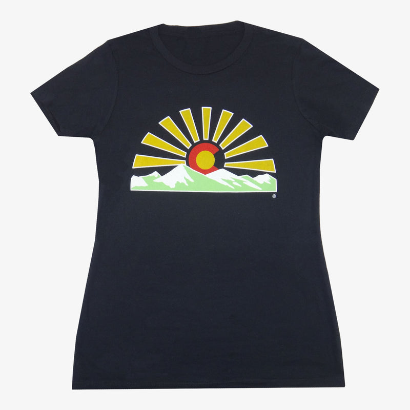Women's Colorado Sunset T-Shirt - Black/Neon