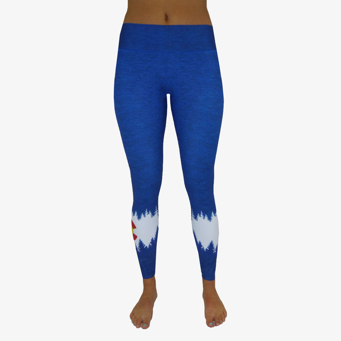 Women's Colorado Flag Mountain Yoga Pant - Royal