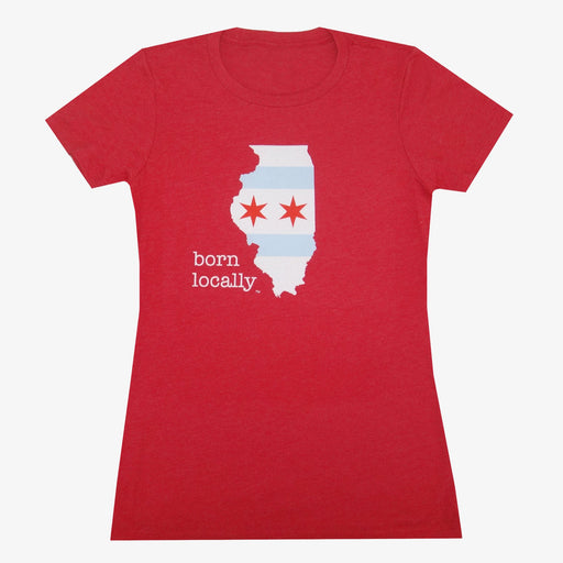 Aksels Women's Born Locally Chicago T-Shirt - Red