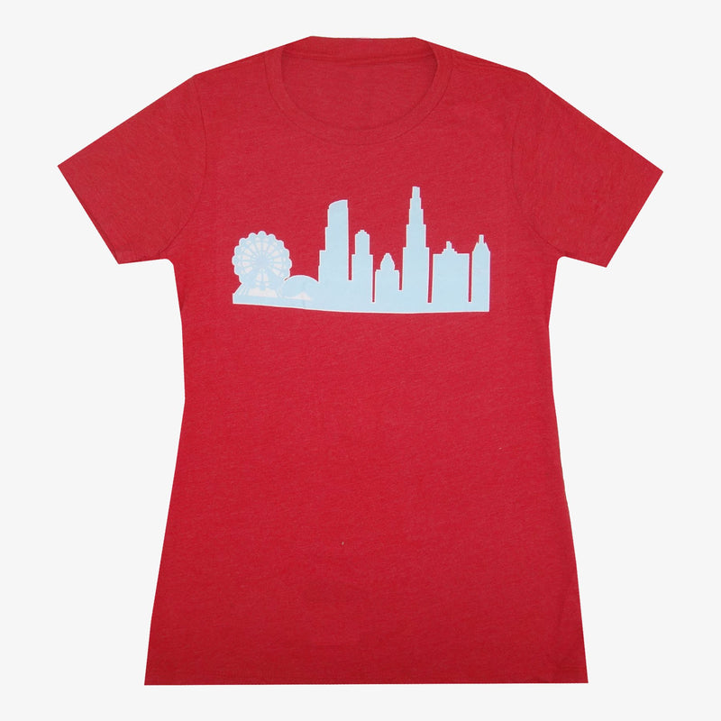 Aksels Women's Chicago Skyline T-Shirt - Charcoal