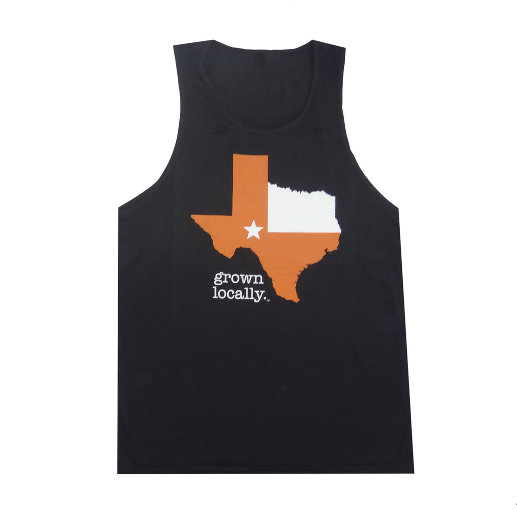 Texas Grown Locally Tank Top - Black/Orange