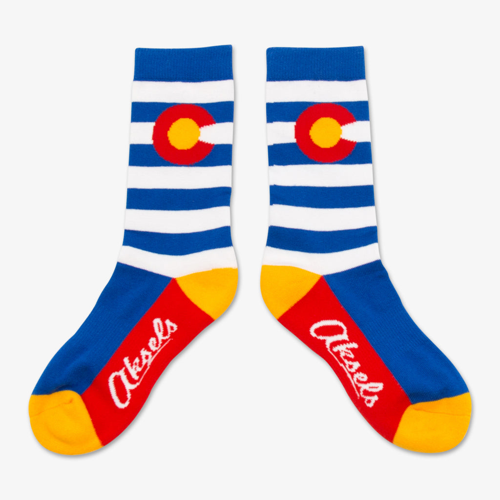 Aksels Youth Striped Colorado Flag Socks