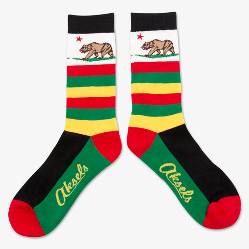 Aksels Striped California Grizzly Bear Socks - Black