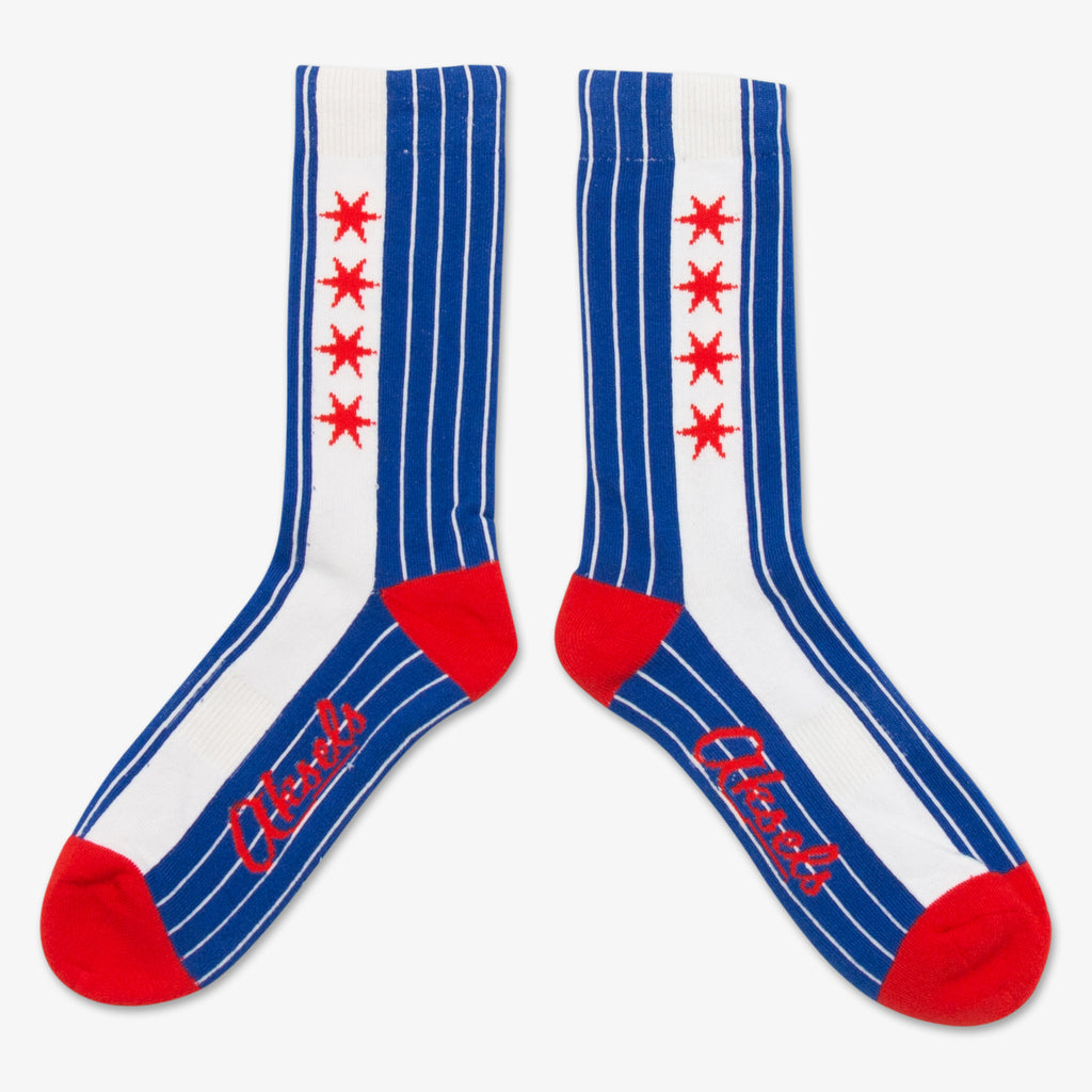 Aksels Pinstripe Chicago Flag Socks