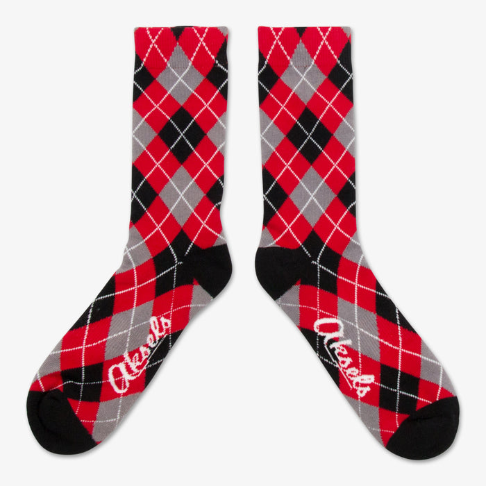 Aksels Red, Gray, & Black Argyle Pattern Socks