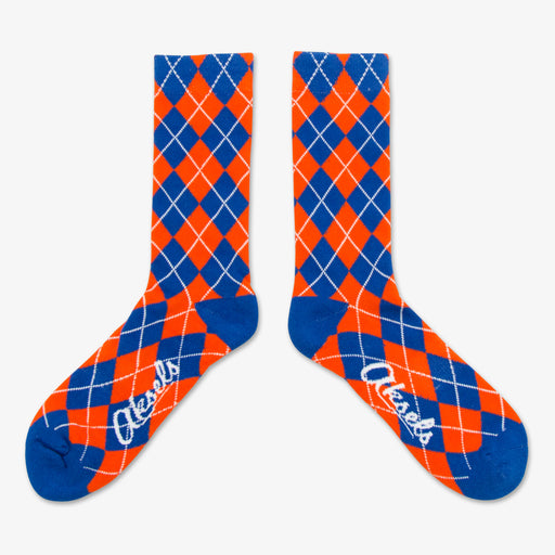 Aksels Blue & Orange Argyle Pattern Socks