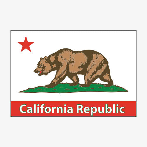 Aksels California Flag Sticker - White