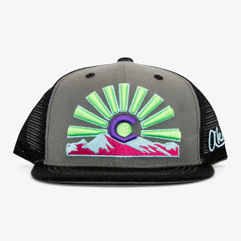 Aksels Youth Colorado Sunset Trucker Hat - Neon Pink