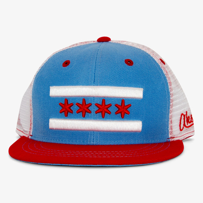 Aksels Chicago Flag Trucker Hat - Blue