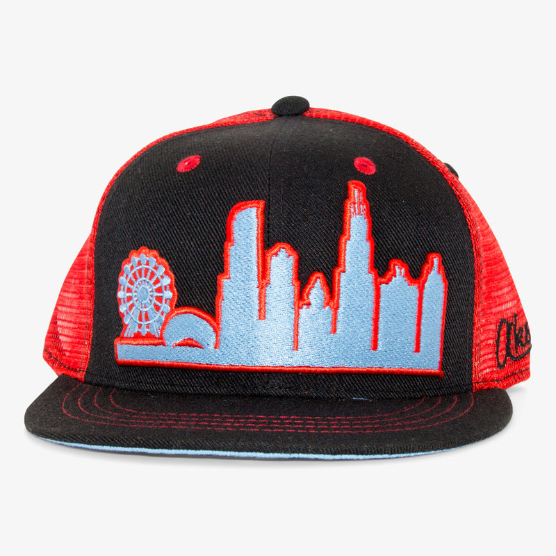Aksels Chicago Skyline Trucker Hat - White