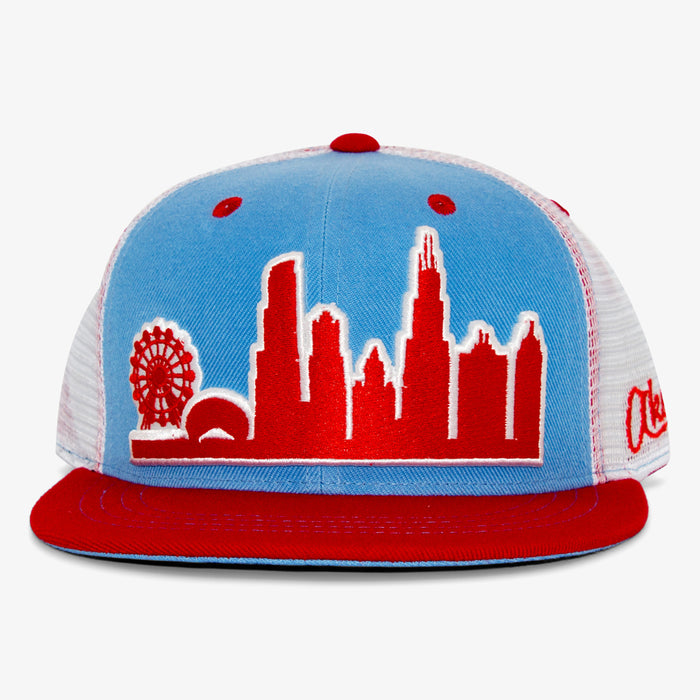 Aksels Chicago Skyline Trucker Hat - Blue