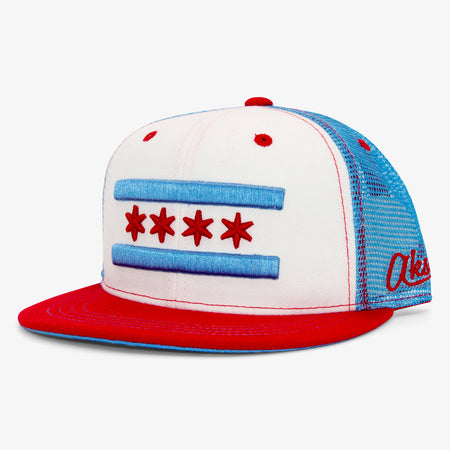 Aksels Chicago Flag Trucker Hat - Black