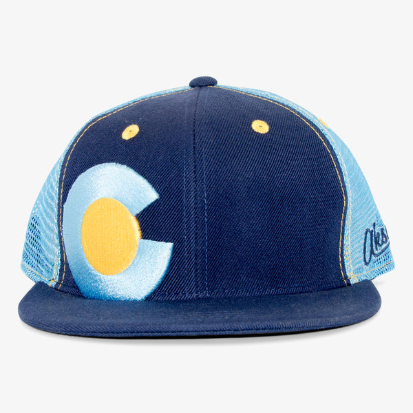Colorado Big C Flat Bill Snapback Hat - Aqua Blue