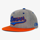 Cursive Denver Flat Bill Snapback Hat - Orange