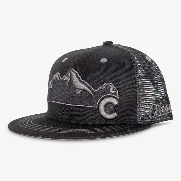 Colorado Mountain Flat Bill Snapback Hat - All Black