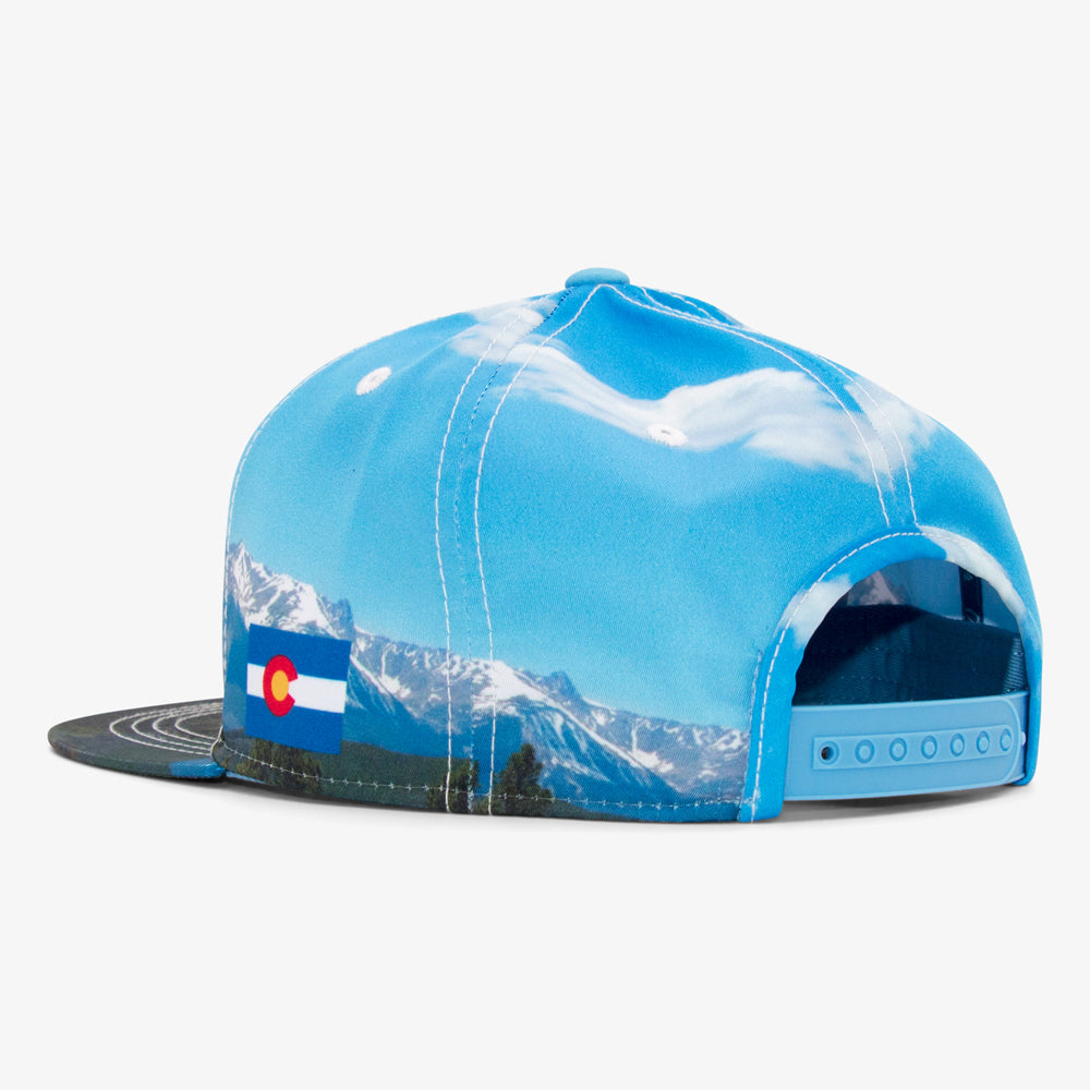 81c7d69ffdd1c Rocky Mountain Snapback Hat. Sublimated Colorado Mountain Flat Bill  Snapback Hat
