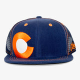 Colorado Big C Flat Bill Snapback Hat - Navy and Orange