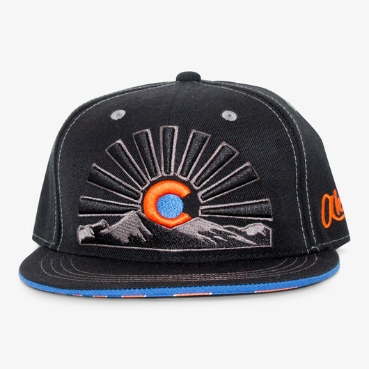 Colorado Sunset Flat Bill Snapback Hat - All Black/Orange