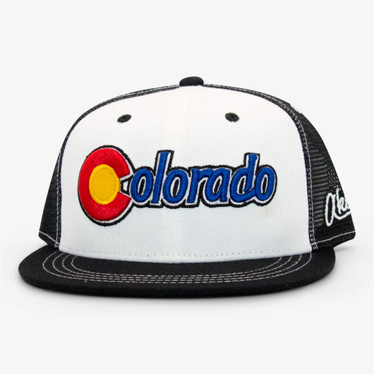 Colorado Original Flat Bill Snapback Hat - White and Black
