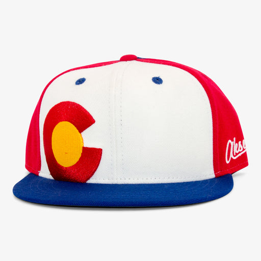 Aksels Colorado Big C Snapback Hat - White
