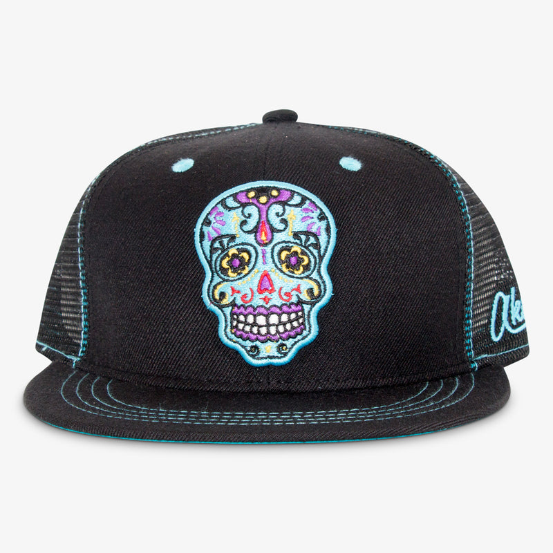 Aksels Day of the Dead Trucker Hat - White