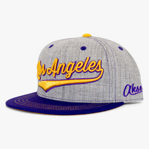 Aksels Cursive Los Angeles Snapback Hat - Purple
