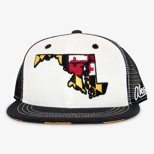 Aksels Maryland Flag Trucker Hat - White