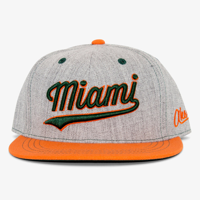 Aksels Cursive Miami Snapback Hat - Orange