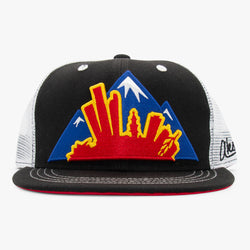 Colorado Montage Flat Bill Snapback Hat - Black and White