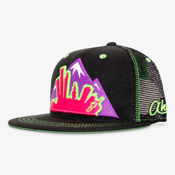 Colorado Montage Flat Bill Snapback Hat - Neon Black