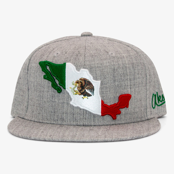 Aksels Mexican Flag Snapback Hat - Gray