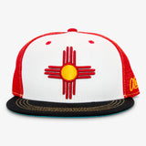 New Mexico Flag Flat Bill Snapback Hat - White