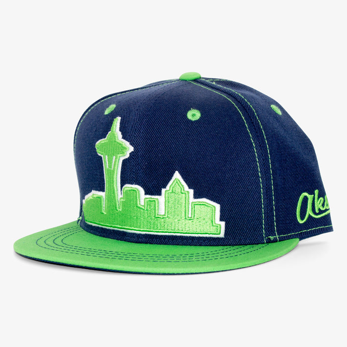 Aksels Seattle Skyline Snapback Hat - Navy