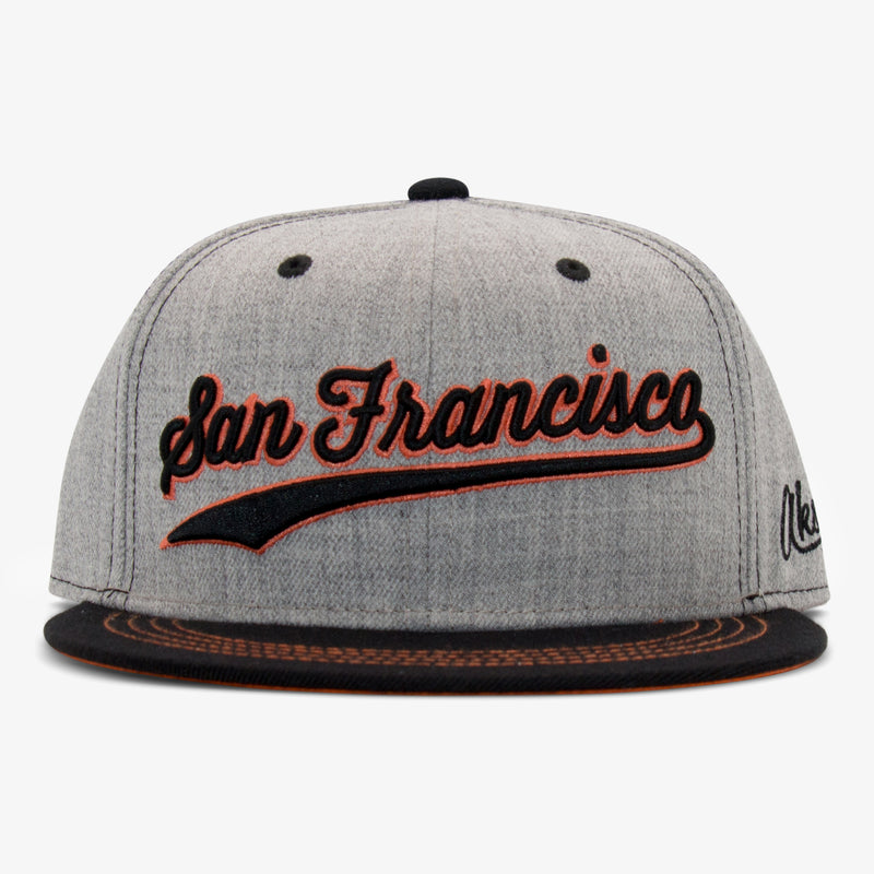 Aksels San Francisco Script Snapback Hat - Heather/Maroon