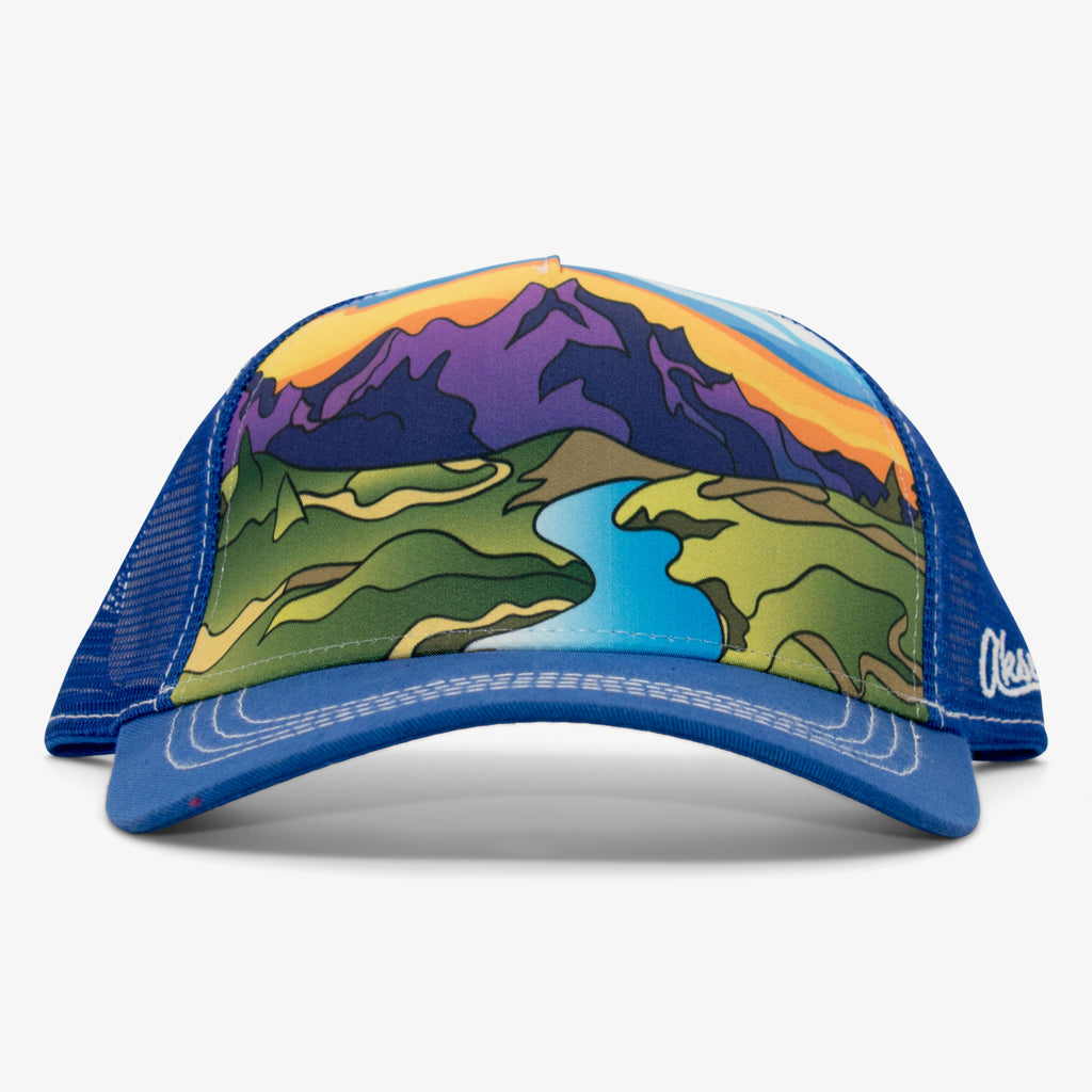 Aksels Abstract Summer Mountain Low Pro Trucker Hat - Royal