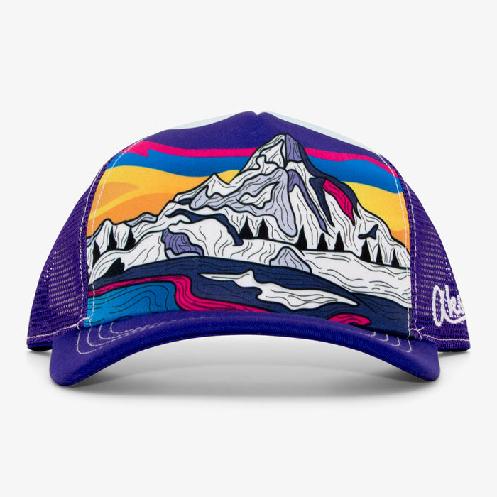 Aksels Abstract Winter Mountain Foam Trucker Hat - Purple