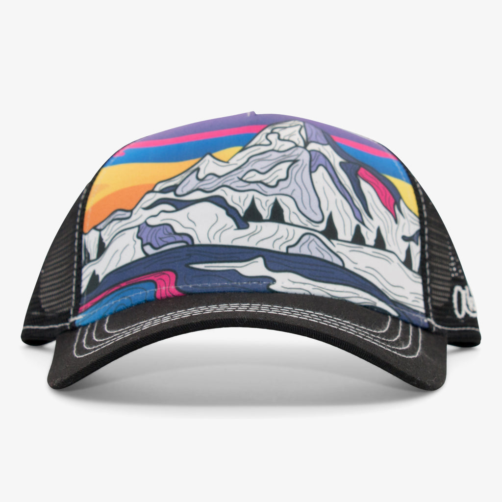 Aksels Abstract Winter Mountain Low Pro Trucker Hat - Black