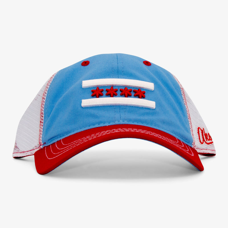Aksels Chicago Flag Curved Trucker Hat - White