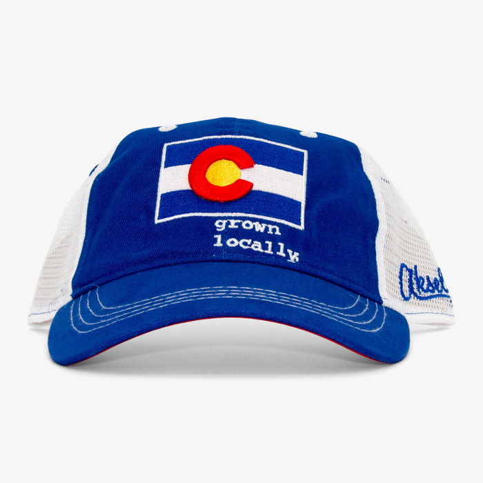 Colorado Grown Locally Curved Trucker Hat - Royal