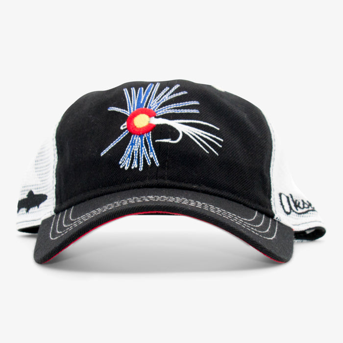 Aksels Colorado Fly Fishing Curved Trucker - Black