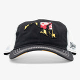 Maryland State X Flag Curved Bill Flat Bill Snapback Hat - Black