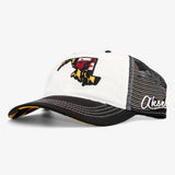 Maryland State Flag Curved Bill Flat Bill Snapback Hat - White