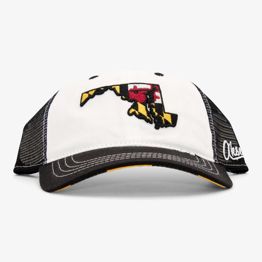 Maryland State X Flag Curved Bill Flat Bill Snapback Hat - White
