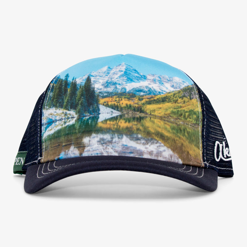 Aksels Maroon Bells Foam Trucker Hat - Black
