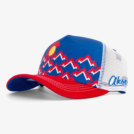 Aksels Mountain Zag Foam Trucker Hat - Navy
