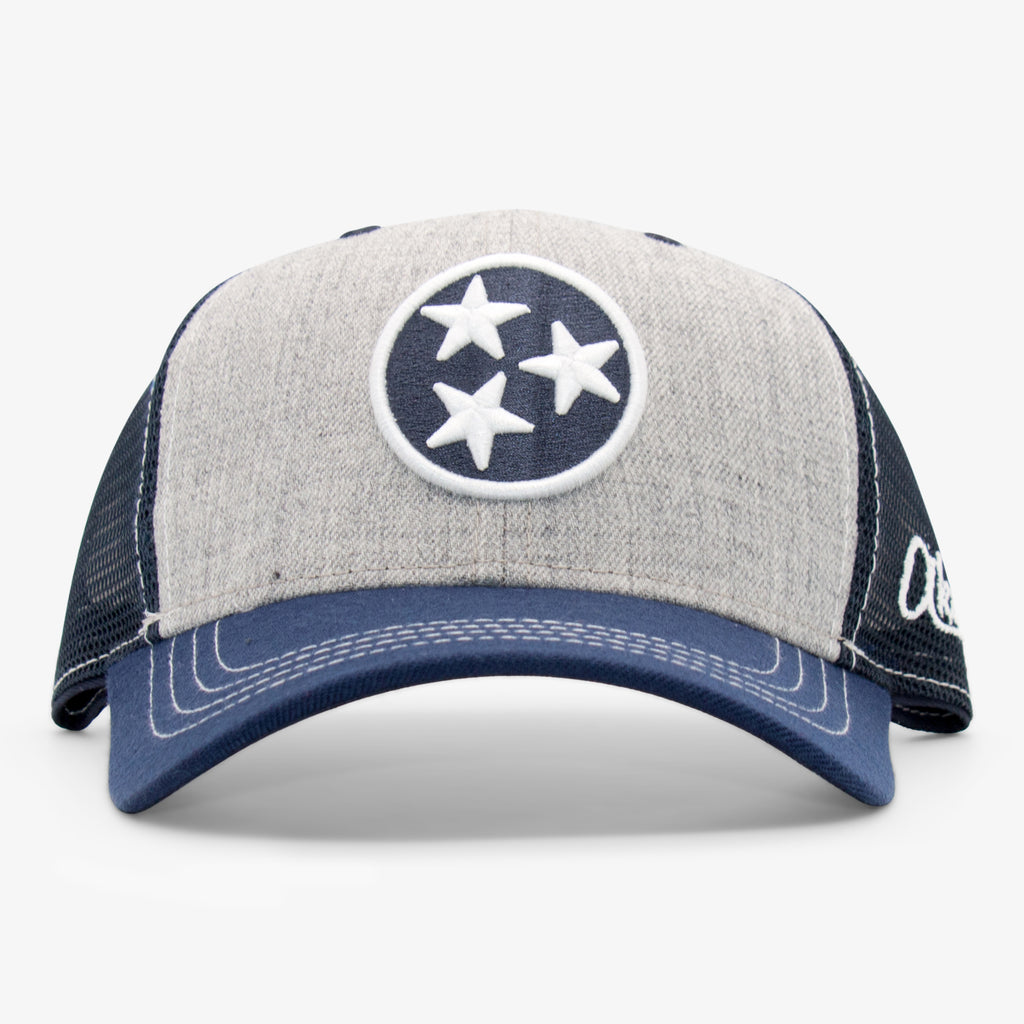 Aksels Tennessee Flag Unstructured Trucker Hat - Heather/Navy