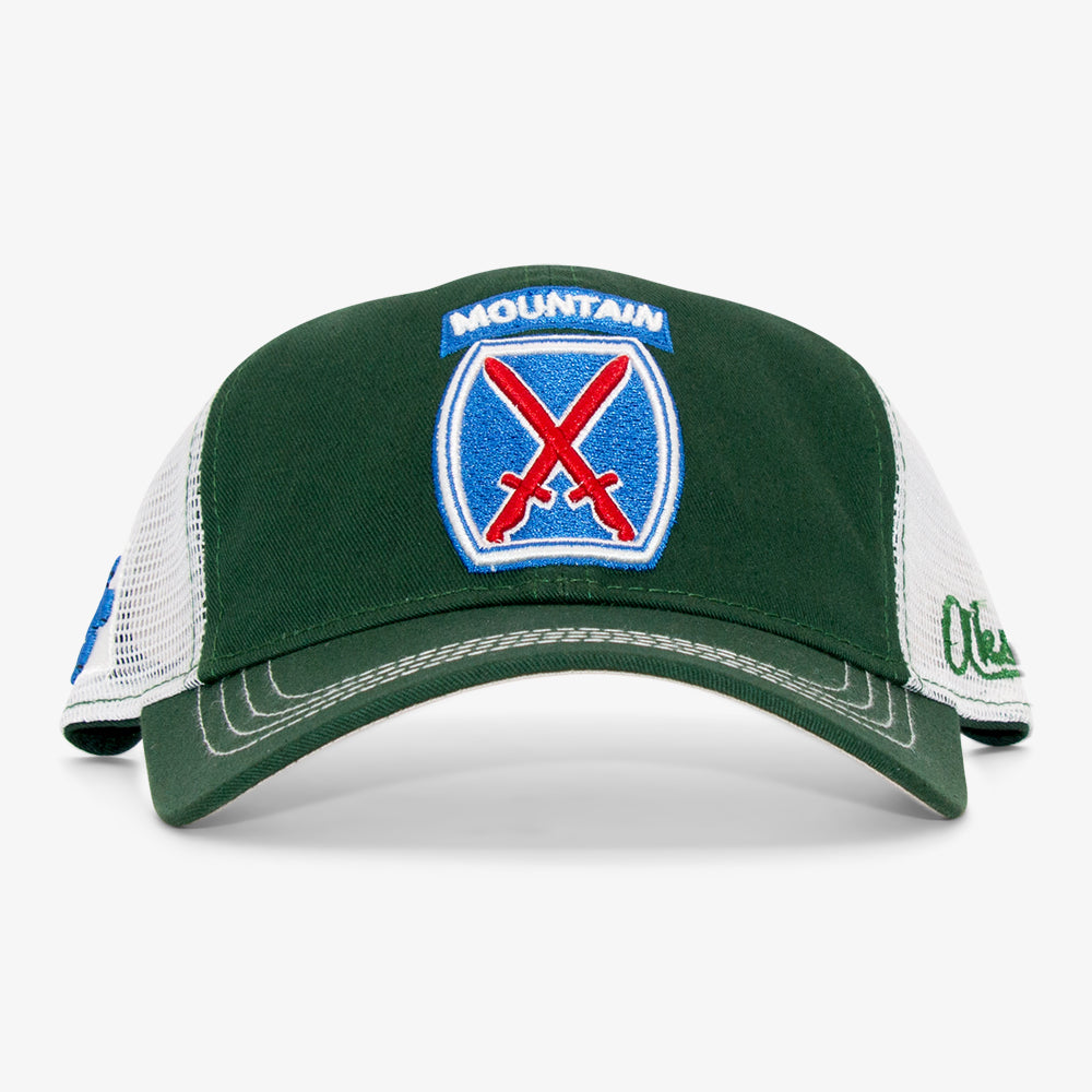 Aksels 10th Mountain Division Curved Trucker Hat - Green